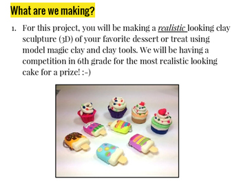 Elementary & Middle School Clay Dessert Realism Project (Model Magic) Bundle!