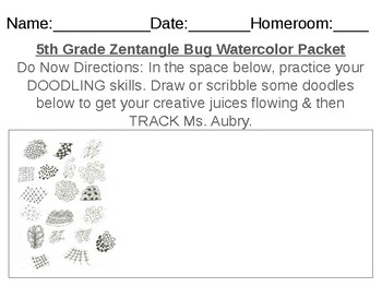 Elementary & Middle School Zentangle Insect Art Packet (To Accompany Lesson!)