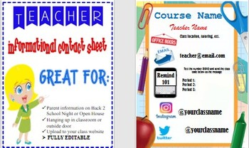 Elementary, Middle or High School Teacher Contact Sheet fully Editable