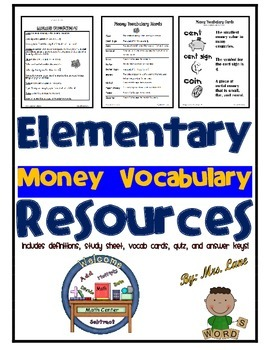 Elementary Money Vocabulary Resources