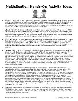 Elementary Multiplication Hands-On Activity Ideas