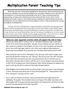 Elementary Multiplication Parent Handouts (Help At Home)