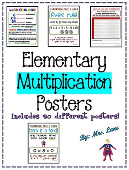 Elementary Multiplication Posters (Includes 21 Different Ready-To-Print Posters)