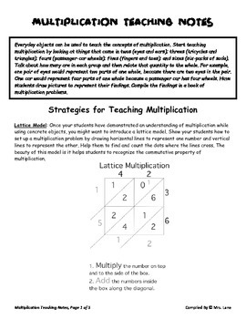 Elementary Multiplication Teaching Tips