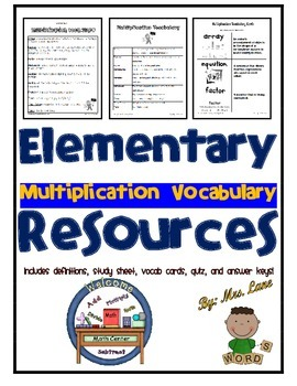 Elementary Multiplication Vocabulary Resources