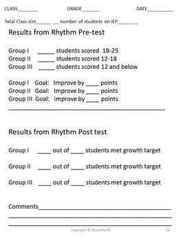 Elementary Music Assessment #3: Grade 3-4 {low la, low sol}{tika-tika, ti-tika}