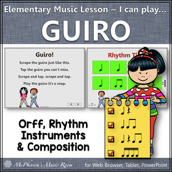 Elementary Music Lesson ~ Guiro: Orff, Rhythm, Instruments & Composition