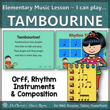 Elementary Music Lesson ~ Tambourine: Orff, Rhythm, Instruments & Composition