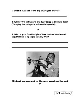 Elementary Music Jazz Unit, Ragtime-The Blues, Assessment & Activities