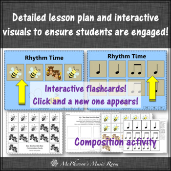 Elementary Music Lesson ~ Bee Bee Bumble Bee: Orff, Rhythm, Melody, Instruments