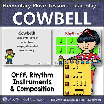 Elementary Music Lesson ~ Cowbell: Orff, Rhythm, Instruments & Composition