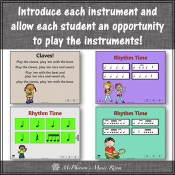"""Elementary Music Lessons & Orff Arrangements for """"I Can Play the Instruments"""""""