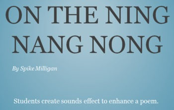 """Elementary Music """"On the Ning Nang Nong"""" Adding Sound Effects to Poetry Freebie"""