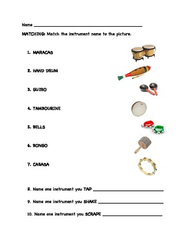 elementary music percussion instrument quiz by christine larsen tpt. Black Bedroom Furniture Sets. Home Design Ideas