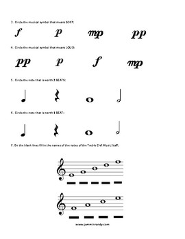 Elementary Music Pre/Post Assessment