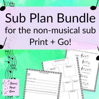 Elementary Music Sub Tub Bundle (Print + Go for the Non-Musical Sub!)