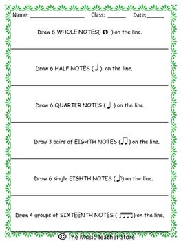 Elementary Music Symbol Practice Worksheet