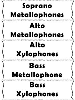 Elementary Music Word Wall-Classroom Instruments
