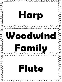 Elementary Music Word Wall-Instruments of the Orchestra