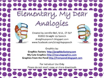 #sept2017slpmusthave #slpmusthave Elementary, My Dear Analogies