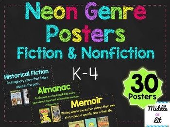Elementary Neon Chalkboard Genre Posters (Fiction and Nonfiction)