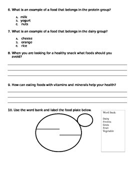 Elementary Nutrition Test
