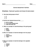 Elementary Nutrition Test