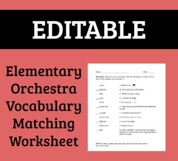 Elementary Orchestra Vocabulary Matching