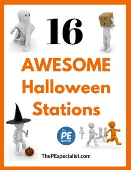 Elementary PE Lesson - 16 Printable Halloween Themed Activity Station Signs