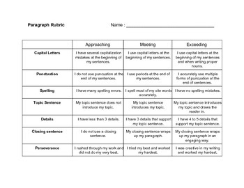 Elementary Paragraph Rubric