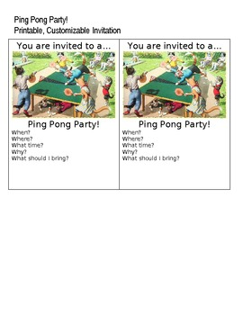 Elementary Party- Ping Pong Theme!