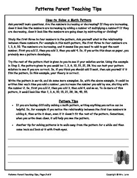 Elementary Pattern Parent Handouts (Help At Home)