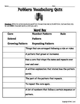 Elementary Pattern Vocabulary Resources
