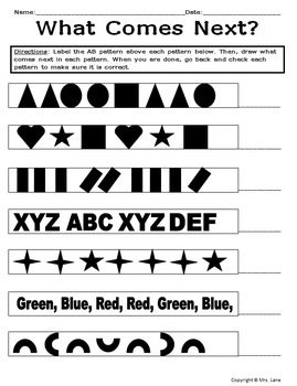 Elementary Pattern Worksheets