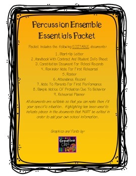 Elementary Percussion Ensemble Essentials Packet