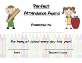 Elementary Perfect Attendence Award!