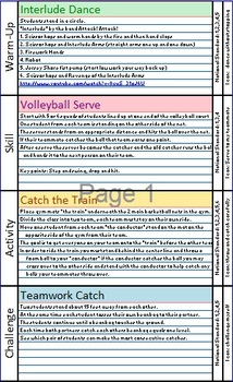 "Part 1 - Elementary Physical Education ""Mix and Match"" Lesson Plans"