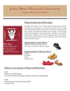 Elementary Physical Education Newsletter Idea