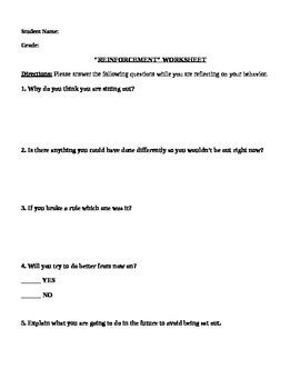 Elementary Physical Education Student Behavior Reinforcement Sheet