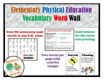 Elementary Physical Education Word Wall