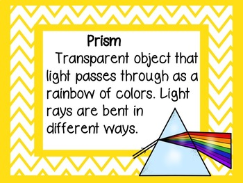 Elementary Physical Science Light Unit Vocabulary Wall Cards