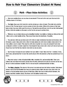 Elementary Place Value Parent Handouts (Help At Home)