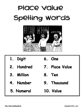 Elementary Place Value Spelling Resources