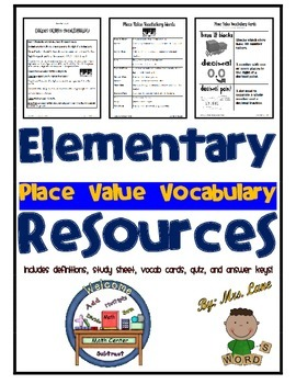 Elementary Place Value Vocabulary Resources