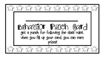 Elementary Positive Behavior Punch Card