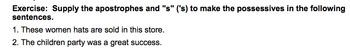 Elementary Possessive Nouns Worksheet