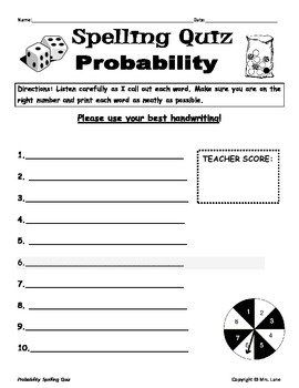 Elementary Probability Spelling Resources