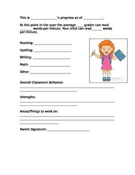 Elementary Progress Sheet