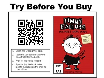 Elementary QR Code Book Trailers Bookmarks Set #3