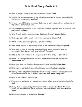 Elementary Quiz Bowl - Study Guide #1 by Teacher Concepts ...